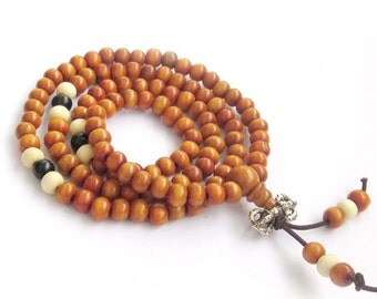 6mm Natural Venus Sandalwood Tibet Buddhist Meditation Yoga 108 Beads Prayer Mala   ZZ232