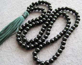 6mm 108 Black Green Stone Beads Tibetan Buddhist Prayer Meditation Rosary Japa Mala  ZZ108