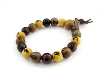 10mm Three Fortune Wood Prayer Beads Tibetan Buddhist Wrist Mala Bracelet For Meditation  T3127