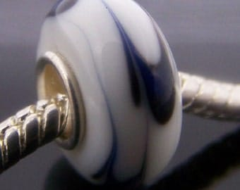 1Pc Murano Glass Bead Fit European Charm Finding 14mm x 7.5mm  jaz379