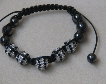 Shambella Striped Black Silver Bracelet