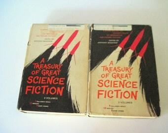 Science Fiction Books, Sci Fi Books, Treasury of Sci Fi, Time Travel, Great Science Fiction, Grey Book Set, Future Sci Fi, Imagination Books