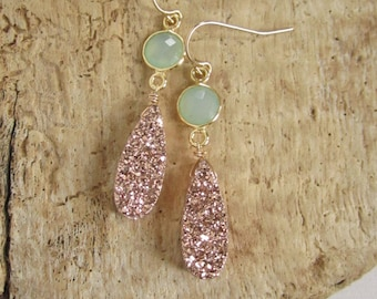 Rose Gold Druzy Earrings Drusy Quartz Sea Green Chalcedony 24K Gold Vermeil Bezel Set