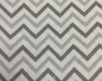 Grey and White Tonal Chevrons - Flannel Fabric - BTY