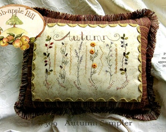 Crabapple Hill Autumn Sampler Pillow Pattern with Cosmo FLOSS KIT  CH 309