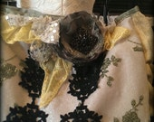 Custom listing for Megan. Olive and black lace with yellow and silver accents purse.