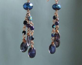 Black elegant earrings, Deep purple dangle earrings, iridescent purple wire wrapped copper jewelry