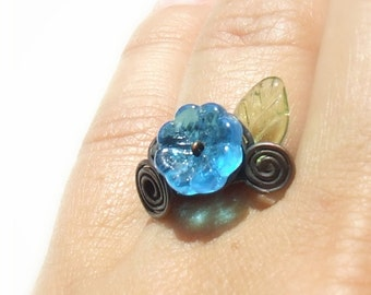 Blue flower ring, hammered copper ring, botanical floral ring, green leaf rustic adjustable jewelry - MADE TO ORDER listing