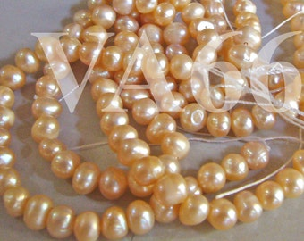 DIY 15 Inches Fresh Water Pearls Round Pearl Beads Peach Pink Color 4mm 5mm PC145 Loose Pearls Jewelry Making Findings Craft