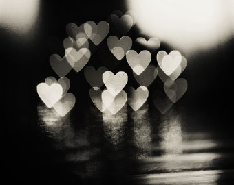 Love Art: Love lights Fine Art Photography, valentines day decor heart bokeh lovers couple art print Still life, Black and White Photography
