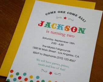 Circus party : Birthday Invitations - Set of 12