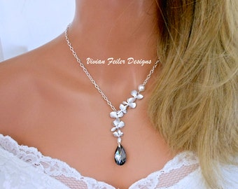 GREY Wedding NECKLACE ORCHID Jewelry Pearl Bridal Necklace Bridesmaid Necklaces Prom Jewelry Maid Of Honor