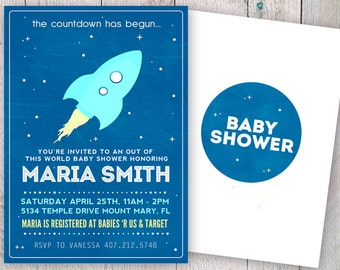 Outer Space Baby Shower Invitation - To the Moon and Back - Outer Space - Planet Moon Rocket DIY Printable Baby Shower Invitation