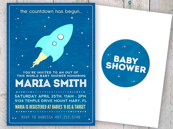 outer space baby shower invitation space baby shower invitation