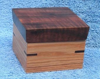 Oak and Walnut Lift Top Box