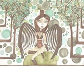 Steampunk, brown and green, wooden wings, mechanical wings,Fantasy art illustration print, bubbles
