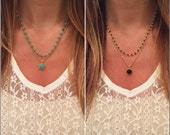 Double Layer Beaded Necklace - 2 Colors to pick from/ Layered Necklace
