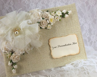 Ivory Wedding Album, 5x7 Photo Album, Personalized Scrapbook, 1st Anniversary Gift, Guest Book, Brag Book