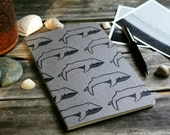 Back to School Pod of Whales Large Notebook Moleskine Journal using Linocut Carved Print Pattern Summer Sea Ocean Marine Biology Student