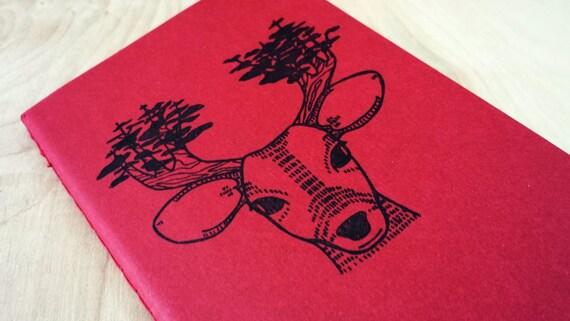 Red Forest Deer Pocket Size Lined Moleskine Notebook Journal Gocco Screenprint