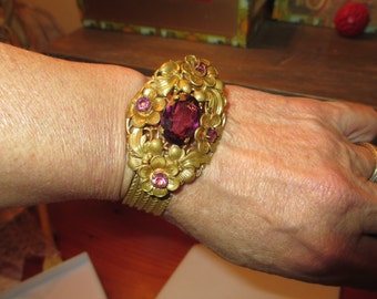 Phenomenal Early 1900's Art Nouveau/Deco Signed CZECH Vintage Embossed Brass Bangle W/Multi-Layered REPOUSSE, Filigree & Amethyst Stones