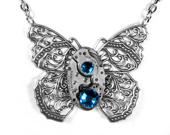 Steampunk Jewelry Necklace Vintage Watch Victorian Silver BUTTERFLY Turquoise Crystal Anniversary Mothers - Jewelry by Steampunk Boutique