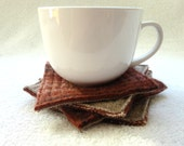 Coasters RUSTY BROWN Fair Isle Sweater Upcycled Coaster Set Mug Rugs Felted Wool Coasters Brown Coasters Ecofriendly Home by WormeWoole