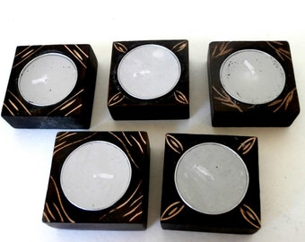 Set 5 Tea Lights and Wooden Holders