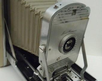 Polaroid Land Camera with Orange Filter Flash and Original Case