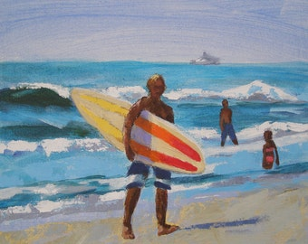 """Surfer Painting- Archival Print- 8""""x8"""" -""""Another Surf Day"""""""
