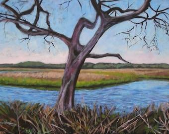 Lone Tree- Large Original Marsh Painting -24x36