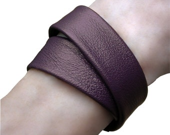 Double Wrap Leather Bracelet Cuff, Layered Leather Cuff  Bracelet,  Purple Leather, Men  Women, custom made