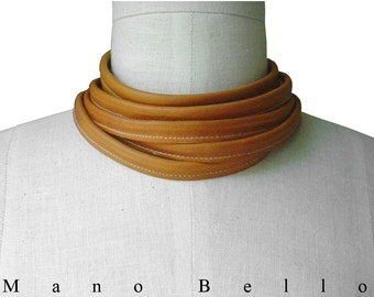 Minimalist Leather Choker, 6 Wrap Leather Wrap Necklace, Honey Tan Leather Skinny Scarf, Men, Women, custom made to fit