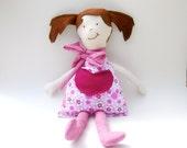 SALE Organic Cloth Doll - Eco Friendly - Organic Cotton - Little Girl - Rag Doll - Handmade - Upcycled