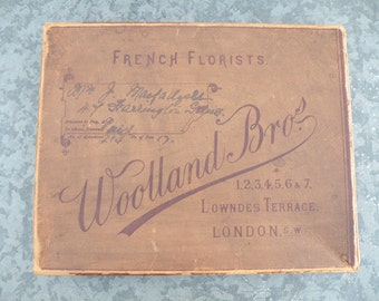 Vintage French Florists , Woodland Bros. heavy paper box Lowndes Terrace London