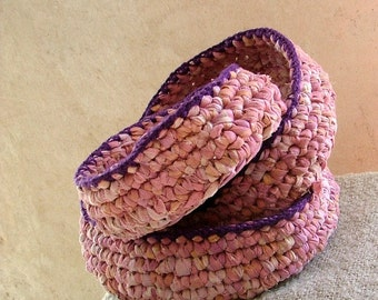 Crochet nesting bowls - set of 3 upcycled cotton fabric , pink and purple surprise