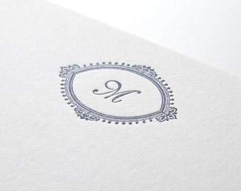 Vintage Initial, personalized letterpress stationery, set of 25