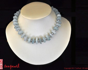 Blue Aquamarine alternating with grey fresh water pearls necklace