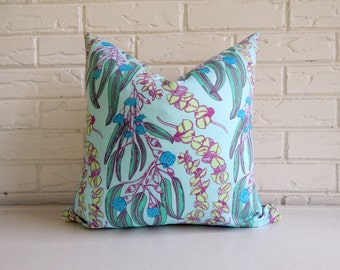 Mint Cottage Chic Pillow Cover - Teal and Mint Shabby Chic Pillow with Ticking and Jute Webbing