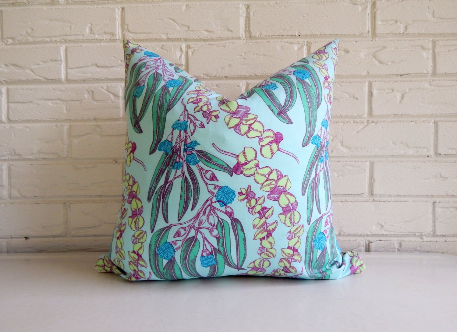 Mint Cottage Chic Pillow Cover Teal and Mint by habitationBoheme