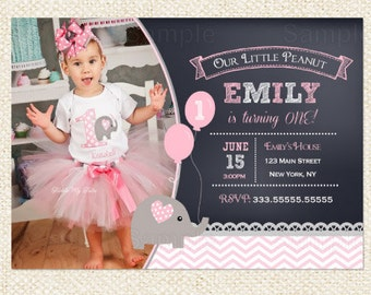 Elephant birthday invitations - Elephant invitations