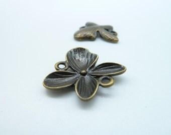15pcs 20x20mm Antique Bronze Butterfly Bow Flower Connector Link Charm Pendant c1075