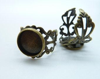 10pcs 12mm GBB Antique Bronze Brass Cameo Cabochon Filigree Base Setting Rings C2092