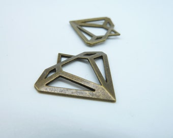 20pcs 28x30mm Antique Bronze  Hollow Diamond Jewel Charms Pendant C2668