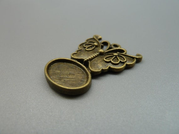 10pcs 23x31mm-14x10mm Antique Bronze Oval Butterfly Filigree Cameo Cabochon Base Setting  D200