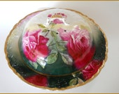 Antique Victorian Covered Server WARMER Dish Porcelain Hand Painted Roses ~ June SALE