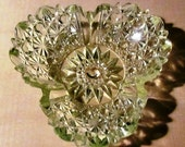 Vintage Cut Vaseline Glass Dish