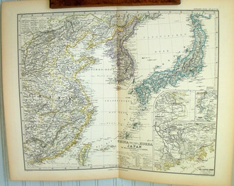 Antique 19th Century Map of Japan/Korea/China and the Region