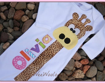 Personalized Newborn Gifaffe Infant Gown Boys Girls Coming Home Outfit Baby Shower Gift Long Necked Giraffe
