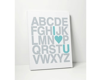 CANVAS PRINT: I Heart U Nursery Alphabet Poster - ABC Decor Kids Wall Art Modern Typographic Poster Print - Stretched Canvas Art Sign